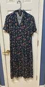 Women's Requirements Floral Short Sleeve Button Front Country Summer Dress 12