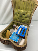 Antique Victorian 9 Old Wicker Sewing Basket With Nice Green Felt And Extras