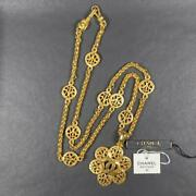Coco Mark Flower Long Necklace Gold Vintage Special Box Tag Rare