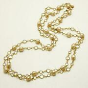 Long Necklace Gold Pearl X Clear Vintage Length About 164 Cm