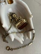 Vintage Hayward Gold Fill Watch Chain 14andrdquo And Large Carnelian Gold Fill Ornate Fob