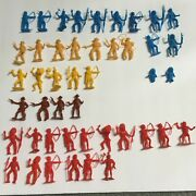 Lot Of 45 Vintage Mpc Cowboys And Indians Plastic Clean Toy 2 Mixed Figures Vtg