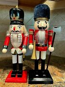 Vintage Lot Of 2 Wooden Soldier Nutcrackers W/weapons 14.5 Tall