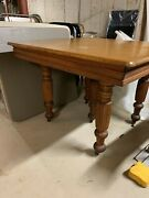 Antique Solid Oak Pedestal Style Dining Table W/3 Leaves 39-1/2 X 39-1/2 X 29