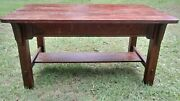 Stickley Arts And Crafts Desk/ Library Table - Stamped Underneath