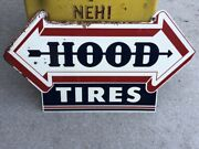 Original Early Double Sided Vintage Hood Tire Arrow Sign Old Gas Oil Mancave Wow
