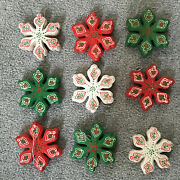 Vintage 9 Wood Handpainted Double Sided Snowflake Ornaments Red White Green