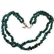Vintage Jewelry Ail Peruvian Turquoise Double Strand Sterling Silver Necklace