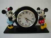 Disney Mickey And Minnie Mouse Mantle Clock With Figurines Rare