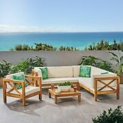 Morgan Outdoor 6 Seater Acacia Wood Sectional Sofa And Club Chair Set