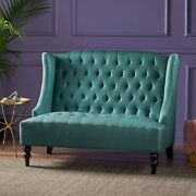 Leona Traditional High Back Tufted Winged Fabric Loveseat