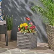 Lilith Garden Urn Planter, Square, Riveted, Lightweight Concrete