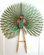 Vintage   Chinese Peacock Fan Paper And Wooden Fan Decorative Color Wall Hanging