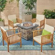 Cape Outdoor 4-seater Acacia Wood Club Chairs With Firepit, Brown Patina Finish