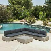 Pueblo Outdoor 7 Seat Wicker V Shaped Sectional Sofa W/ Water Resistant Cushions