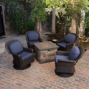Alameda Outdoor 5 Piece Wicker Swivel Chat Set With Stone Finished Fire Pit