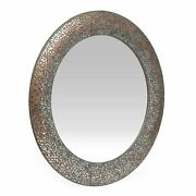 Jewett Traditional Handcrafted Round Mosaic Wall Mirror, Golden Brown