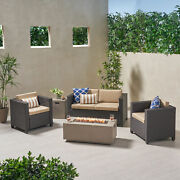 Sigrid Outdoor 4 Seater Wicker Chat Set With Fire Pit