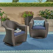 Florence Patio Swivel Chairs Wicker With Outdoor Cushions Multi-brown And Navy
