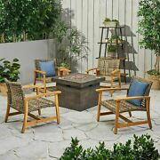 Rachel Outdoor 5 Piece Wood And Wicker Club Chairs And Fire Pit Set