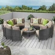 Falkland Outdoor 8 Seater Round Wicker Sectional Sofa Set With Coffee Tables