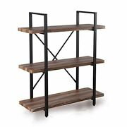 Industrial Bookcase And Book Shelves, Vintage Wood And Metal 3-tier