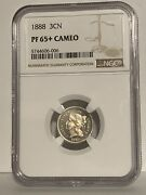 1888 3 Cents Nickel - Scarce Date Proof Ngc Pf65+ Cameo Beautiful Gem Proof Coin