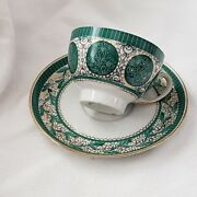 Vintage Cup And Saucer Cepelia Gold Tone Green Retro Collectible Polish Set 6