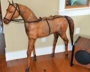 Vintage Real Leather Horse Statue Abercrombie Fitch Sculpture Figure 44 Large