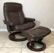 Ekornes Stressless Leather Adjustable Recliner Chair And Ottoman Large Andlsquogovernorandrsquo
