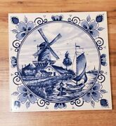 Delft Blauw Holland Hand-painted Windmill And Water Dutch Tile Trivet Vtg 6x6