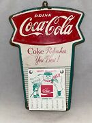 1977-78 Drink Coca-cola Coke Refreshes You Best Holidays Calendar Tin Sign