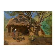 French Antique Barbizon Oil Painting Of Feeding The Chickensandrdquo C. 1870s Signed