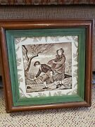 Josiah Wedgwood Tile / March Double Framed ☆ Beautiful And Collectible