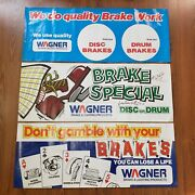 Wagner Brakes Vintage Paper Signs Lot Of 3 Advertising 1978 Rolled Posters