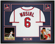 Stan Musial Autographed And Framed White Cardinals Jersey Auto Psa Coa