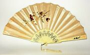 Antique Chinese Hand Painted Silk Embroidered Floral Fan With Ornamental Guards