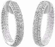 1.80ct Natural Round In And Out Diamond I-jsi1 Hoop Earring 14k White Gold
