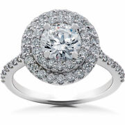 1 5/8 Ct Double Halo Diamond Eco Friendly Lab Grown Engagement Ring 14k Gold