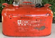Vintage Red Omc Metal Outboard Motor Boat Marine 6 Gallon Fuel Gas Tank Can