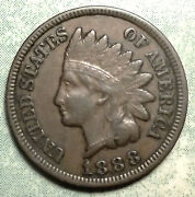 1888 Indian Head Penny Xf Extra Fine Brown Nice Liberty 2+diamond Rare More Here