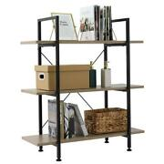3-tier Industrial Bookcase And Book Shelves, Vintage Wood And Metal Bookshelves