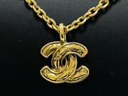 Necklace Quilted Coco Mark Vintage Gold Plate Chain 55cm 3cm Accessories