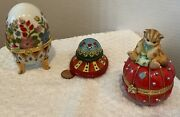 3 Round Trinket Boxes Egg, Cat, Hat Each With Surprises Inside