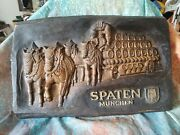 Vintage Spaten Munchen German Beer Sign. Faux Wood. 24 Inches X 16 Inches