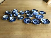 Blue Willow Childrenand039s Vintage Dishes Tea Set Made In Japan 27 Pieces