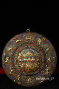 12.8 China Antique Tibet Pure Copper Hand Beat And Engrave Thangka With Gems