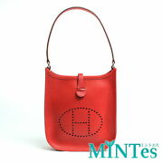 Auth Hermes Evelyn Tpm Handbag Red Red Vaux Epson Leather Small Accessory Case [