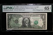 1995 1 Offset Printing Error Pmg 66-63 Federal Reserve Note 5 Consecutive Note