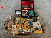 Huge Vintage Junk Drawer Lot Jewelry Pinsmedals Sterling Lighters And More